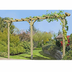 holz pergola torbogen rankhilfe rosenbogen blumenbogen cm mit pfosten 9x9 ebay. Black Bedroom Furniture Sets. Home Design Ideas