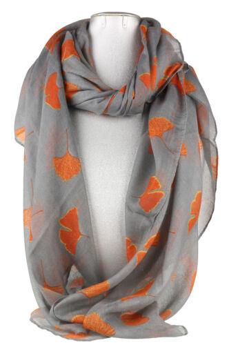Ginko Leaves Dual Colour Scarf Neck Stole Wrap Elegant Womens Long Soft Large