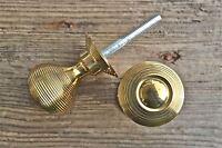 PAIR OF LOVELY SOLID BRASS VICTORIAN STYLE BEEHIVE DOOR KNOBS DOORKNOB HANDLE B1
