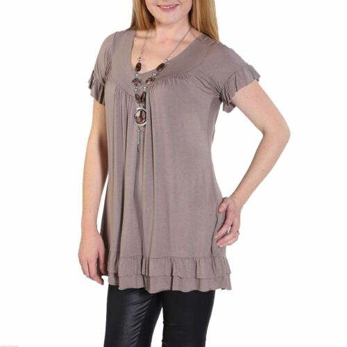New Ladies Cap Sleeve Plain Baggy Oversized Gypsy Necklace Loose Frill Shirt Top