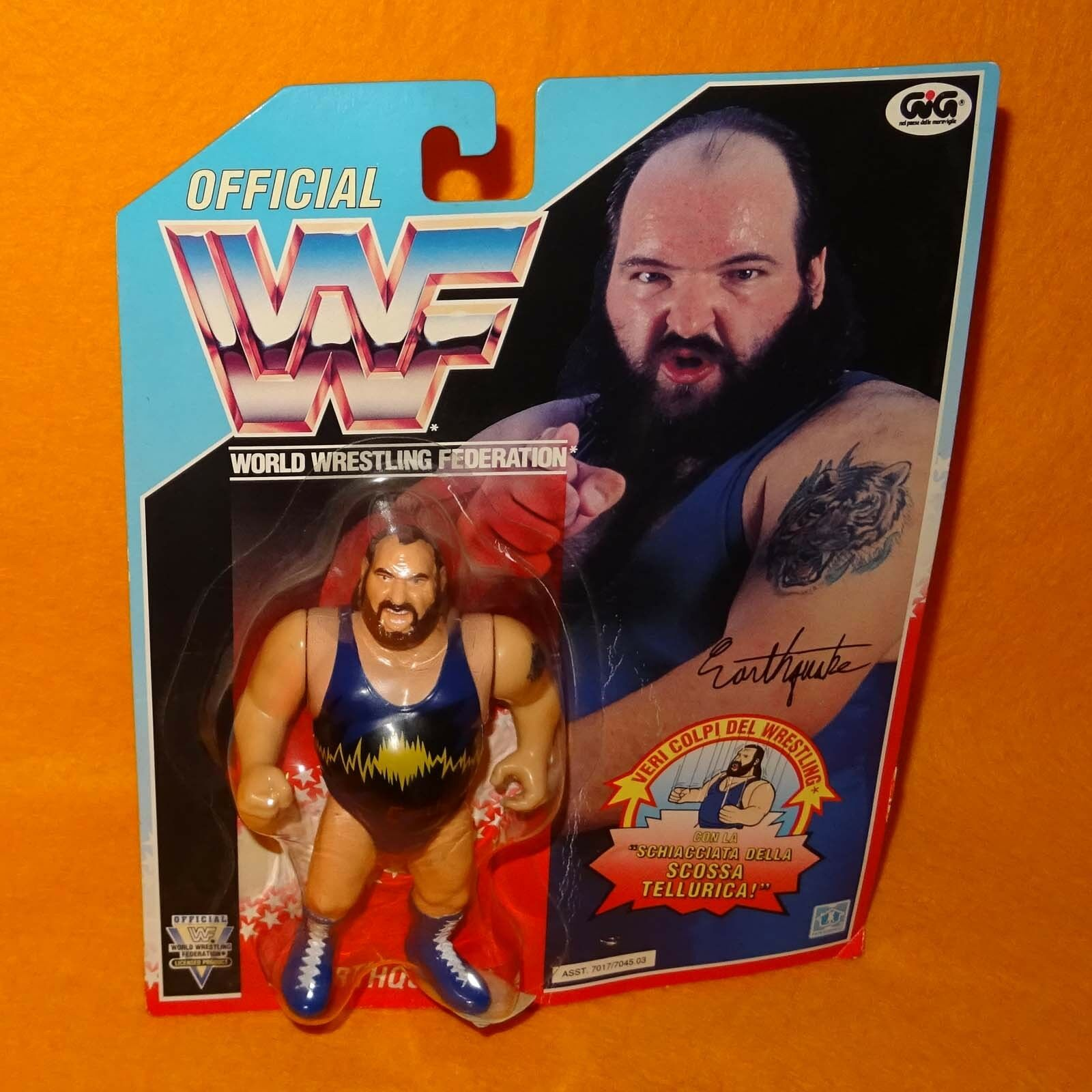 VINTAGE 1992 90s HASBRO GIG WWF WRESTLING SERIES 3 EARTHQUAKE FIGURE MOC CARDED