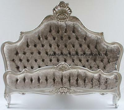 SILVER LEAF SUPER KING BED W SILVER CRUSHED VELVET CRYSTALS FRENCH STYLE ORNATE