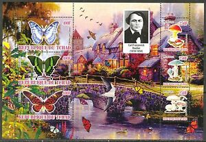 Chad-2010-Butterflies-amp-Mushrooms-VII-Birds-Flowers-Sh-of-6-MNH-Privat