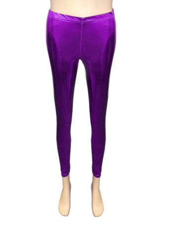 NEUF filles wet look legging brillant feuille métallique enfants Danse Legging âge manière année