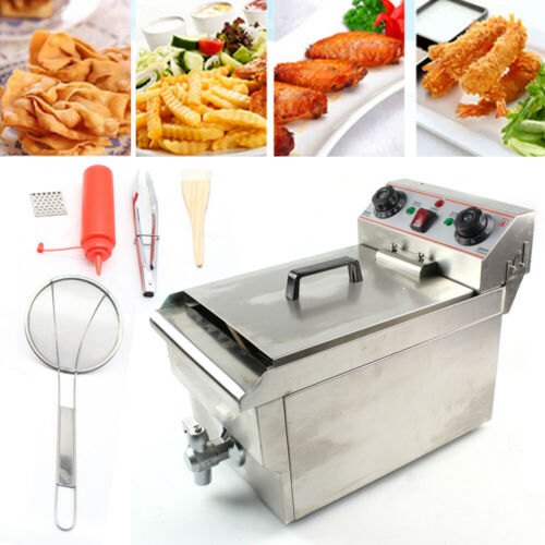 10L Electric Deep Fryer Commercial Stainless Restaurant Fat Frying Chip 3000W