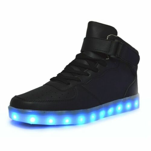 7 couleurs Hommes Femmes Lampe Nocturne DEL Light Up Trainer Chaussures High Top Sneakers US12