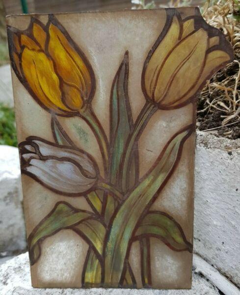 Analytisch Alte Glasmalerei Motiv Tulpen - Handgemalt, 17 X 12 Cm