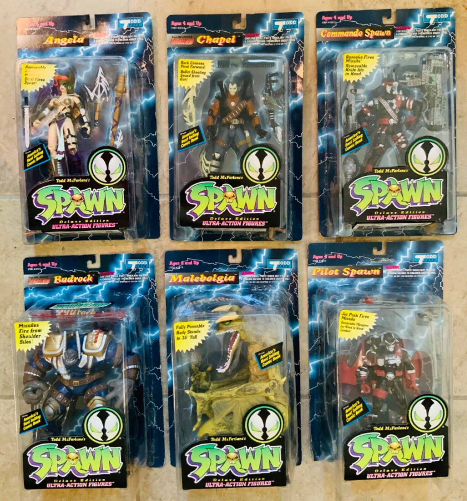 Spawn Series 2 complete set of 6 Action Figures avec variante Angela Comme neuf on Card 1994