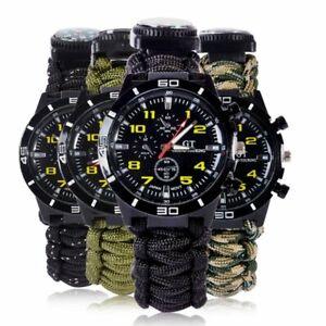 Survival-Watch-Bracelet-Paracord-Compass-Flint-Fire-Starter-Whistle-Outdoor-US