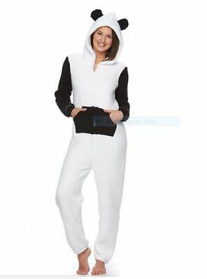 Black /& White Panda Union Suit Onesie with Detachable Mask Hood