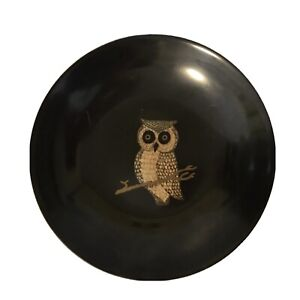 "VINTAGE COUROC Owl Bird PLATE DISH BOWL MONTERREY CALIFORNIA MCM Black 7.75"""