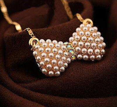 XICA Fashion Bowknot Pearl Fashion Womens Bib Statement Chain Pendant Necklace