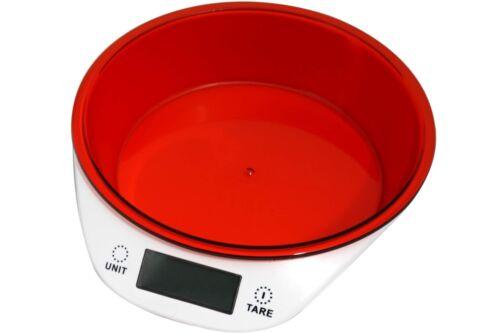 Digitale Küchenwaage CUISINIER mit Schale rot bis 5kg Zuwiegefunktion Waage NEU