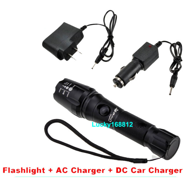 2200LM CREE XM-L T6 LED Rechargeable Flashlight Torch Lamp W 2 Battery Charger #