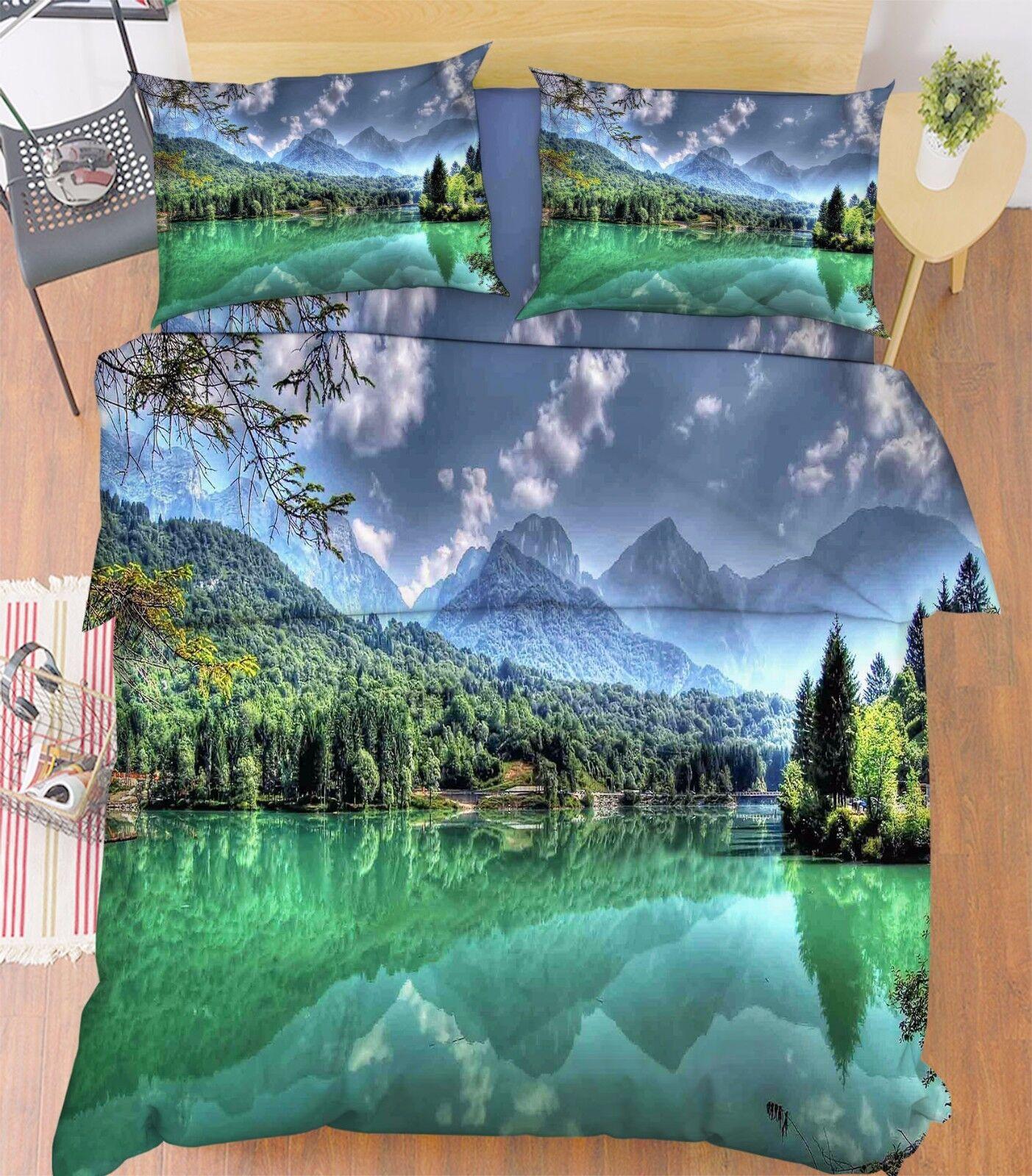 3D Cloudy Landscape 7 Bed Pillowcases Quilt Duvet Cover Set Single Queen AU