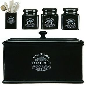 Image Is Loading Vintage Black Ceramic Tea Coffee Sugar Jar Canisters