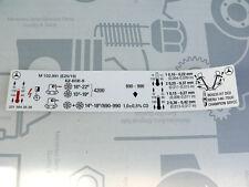 Genuine Mercedes engine sticker M102.991 for W201 model 190E 2.5-16 EVOLUTION I