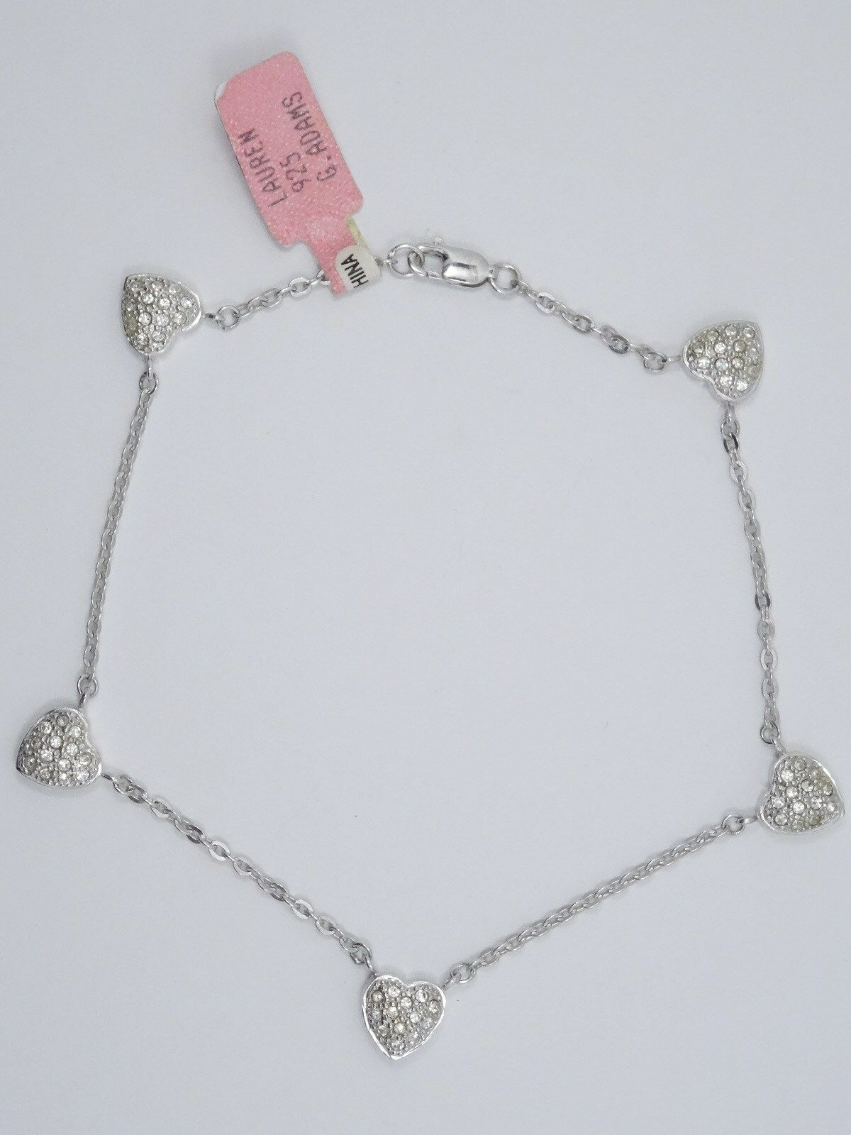 NEW with TAG PAVE CUBIC ZIRCONIA HEARTS STERLING ANKLET BRACELET  9    9.1 g