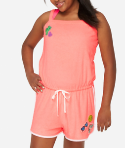 aaaa57e4e5 JUSTICE Girl's Plus 12.5-14.5 Vintage Pink Terry Romper Swim Cover ...