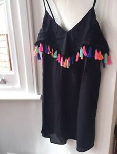 ASOS-MATERNITY-Mini-Black-Boho-Dress-with-Lovely-Colourful-Tassels-Size-12