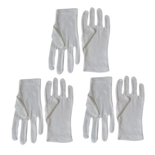 3 Pairs White 100/% Cotton Gloves for Photo Film Vinyl Records and all Valuables