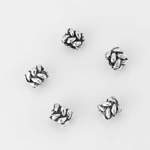 20x Silver Braid Round Slider Spacer Beads for 5mm Round Leather Cord Bracelet