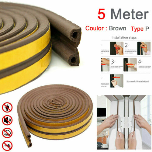 Draught Excluder Weather Seal Strip Noise Insulation Door Window Sticky Tape 5M