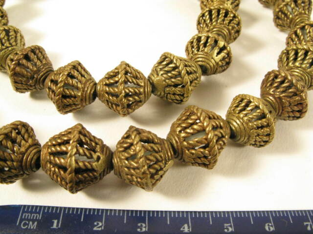 Strang 16mm Messingperlen X1 Gelbguß Ghana Brass Beads Ashanti Akan Afrozip
