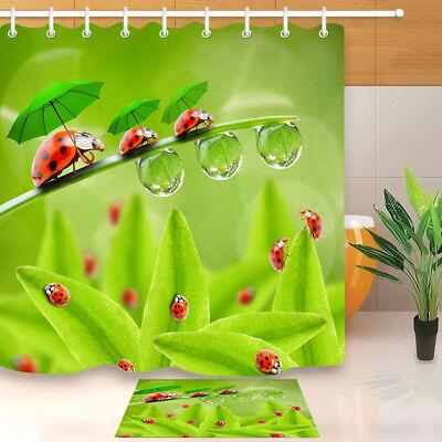 "Waterproof Fabric Rain Tree House Birds Bathroom Mat Shower Curtain Set 72x72/"""
