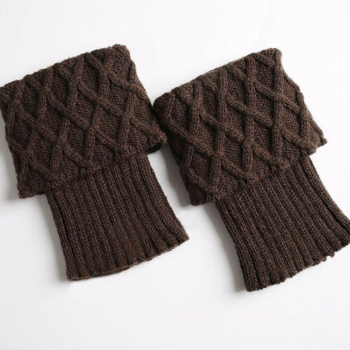 Womens Girl Winter Knitted Boot Cuffs Toppers Trim Socks Short Ankle Leg Warmers