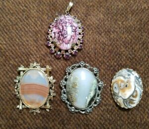 VINTAGE-GOLD-TONE-BROOCH-WITH-AN-UNUSUAL-STONES-moss-agate-PENDANT-set-of-4