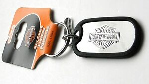 Harley-Davidson-Metal-Dog-tag-style-with-rubber-Key-Ring-Keychain-Chain-3-inches