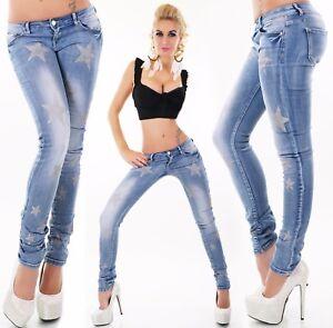 Vaqueros-de-Mujer-Pantalones-Cintura-Baja-Rohrenjeans-Skinny-Estrella-Azul-34-42