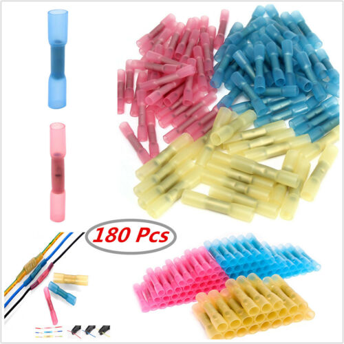 180pc Autos 22-10 AWG Heat Shrink Butt Electrical Wire Crimp Terminal Connectors