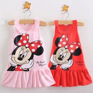 Kids-Baby-Girls-Shirt-Dress-Cartoon-Mouse-Sundress-Ruffled-Sleeveless-Clothes
