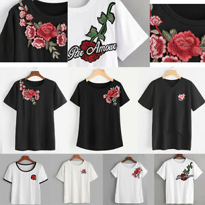 5d1c2416b696ea Image is loading Stylish-Women-Summer-Rose-Embroidered-T-shirt-Loose-