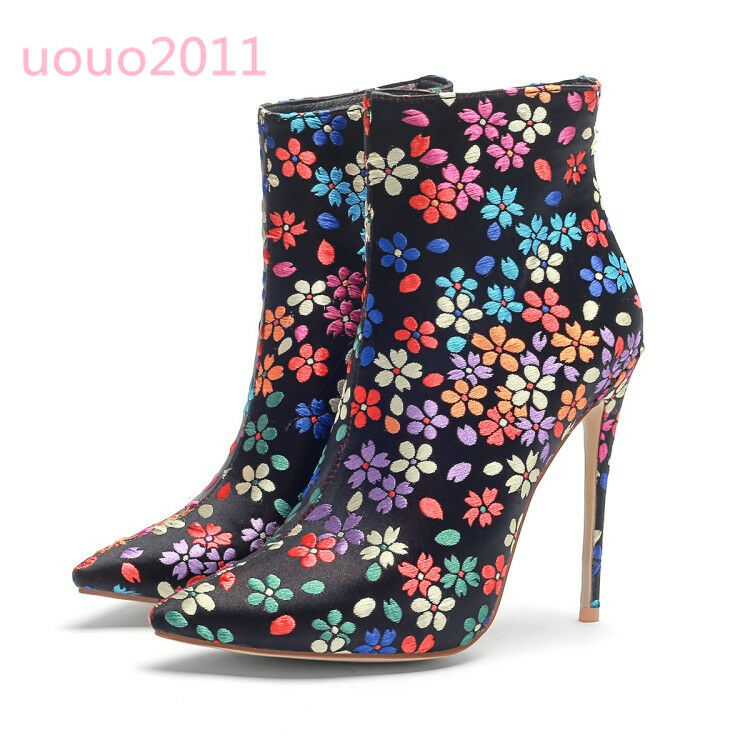 Vogue donna Embroidery Flower Satin Ankle stivali High Heel Pointy Toe Party scarpe