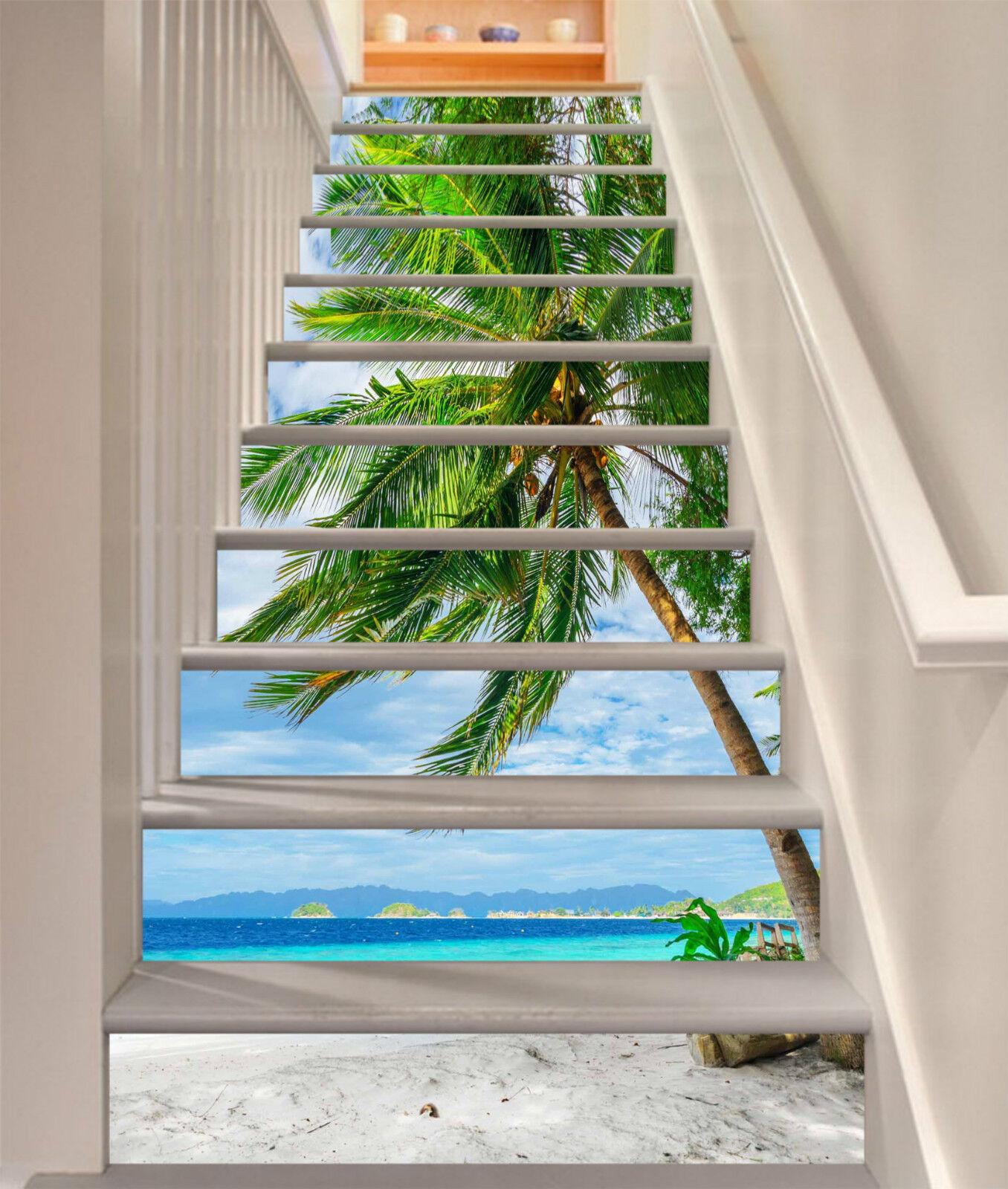 3D Strand Ansicht 8 Stair Risers Dekoration Fototapete Vinyl Aufkleber Tapete DE