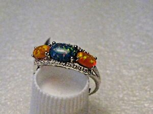 Silver-Blue-amp-Orange-Opal-Ring-Band-Size-8-Rhodium-Plated-1-97gr