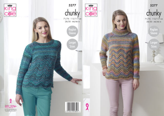 Womens Round or Polo Neck Sweater Ladies Chunky Knitting Pattern King Cole  5277 da98b8c9c