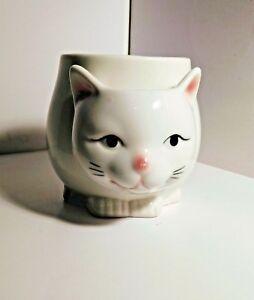 Vintage-JSNY-Kitty-White-Cat-Porcelain-Mug-Tail-Handle-Tea-Bag-Holder-CUTE