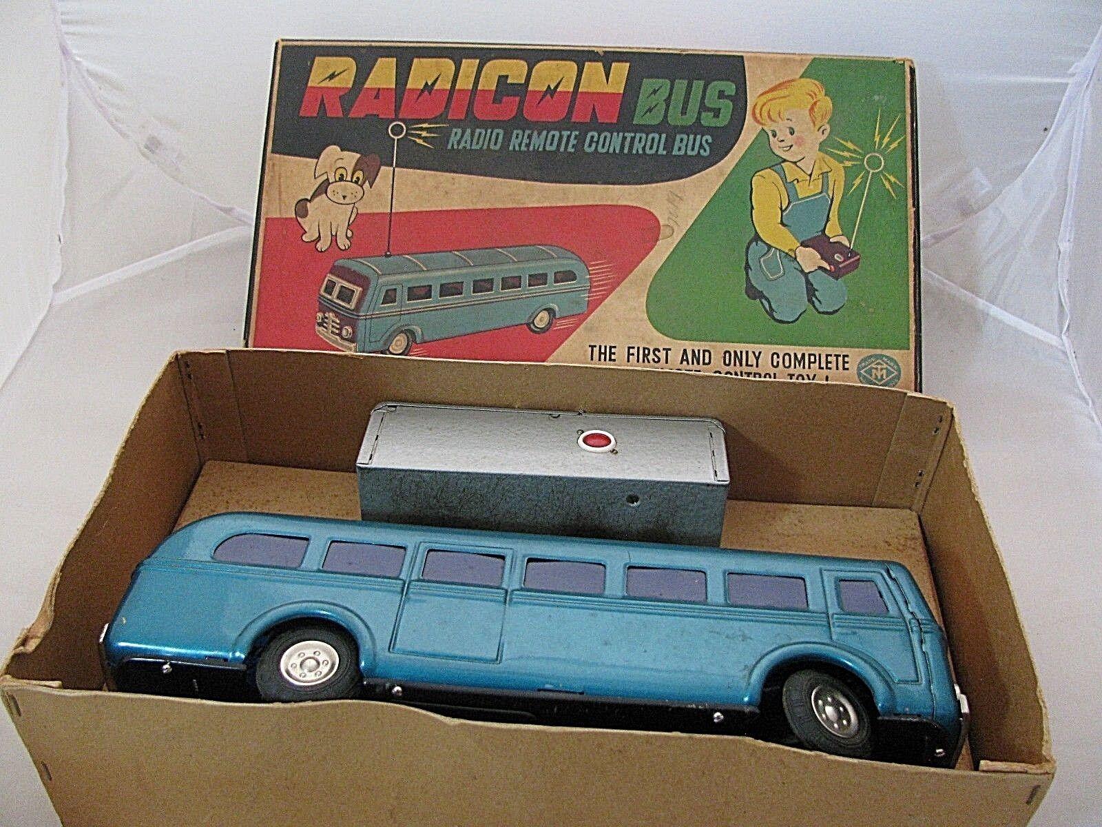 VINTAGE 1950's  TM MODERN TOYS RADICON BUS in ORIGINAL BOX  RADIO REMOTE CONTROL