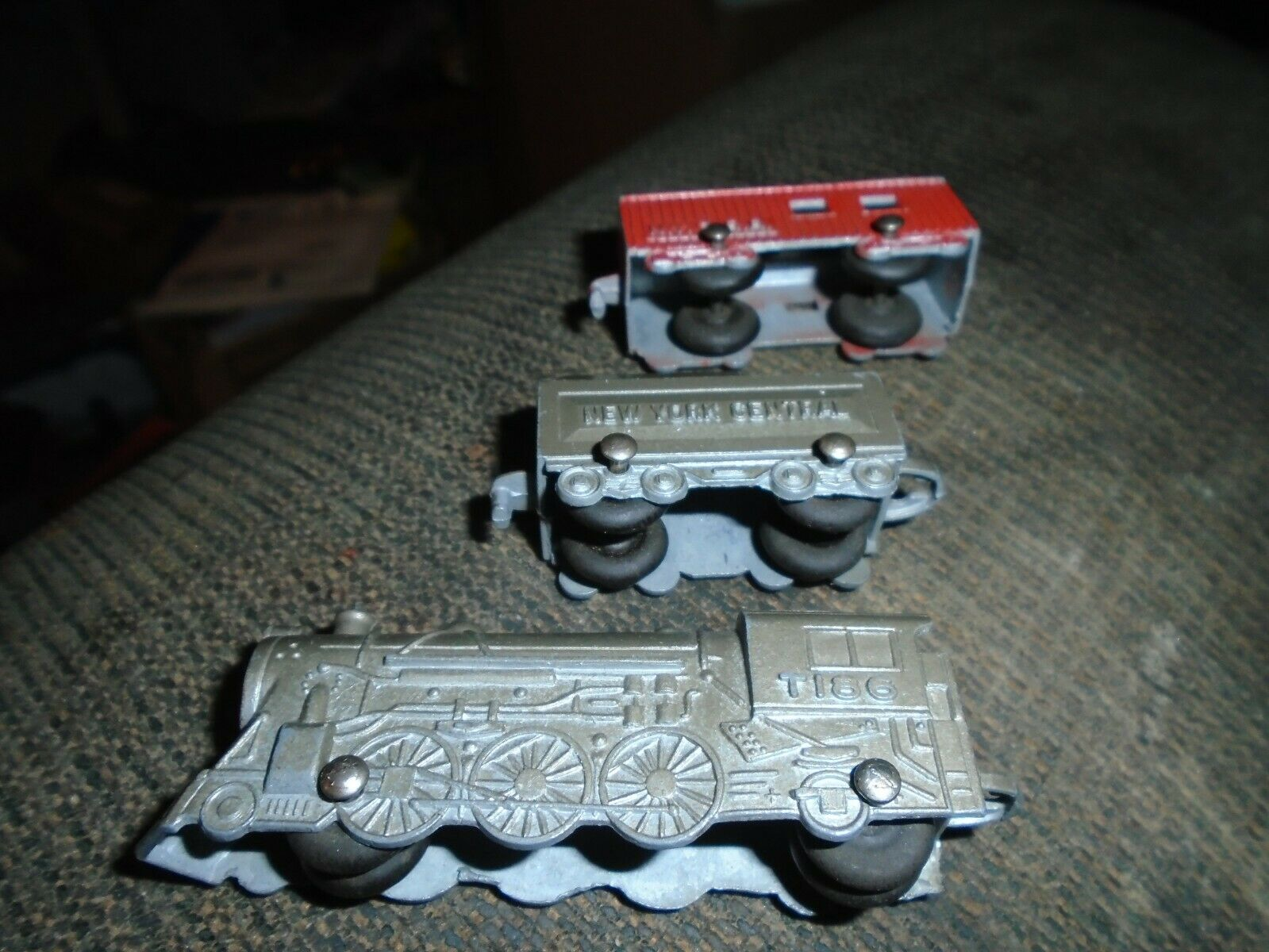 Vintage Tootsieleksak Die Cast ny York Central Rail Motor Soft Caboose RARE