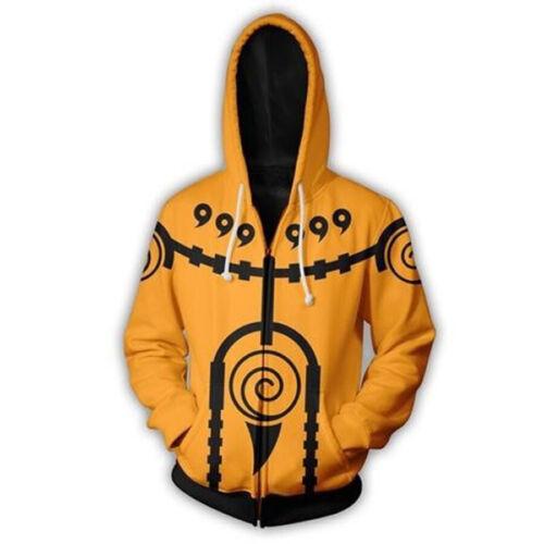 Naruto0 Anime Hoodie Print Sweatshirt Hooded Coat Zipper Jacket Pullover Cosplay