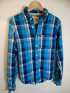 Hollister-Mens-Blue-Check-Plaid-Long-Sleeve-Cotton-Shirt-Size-Small-19-034-Chest