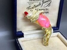 Vintage Designer 1980's Pink & Gold Jelly Belly Fish Brooch