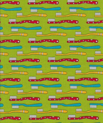 Green Toothbrushes Half Metre Cats Pyjamas Jodie Carleton 50 x 110 cms