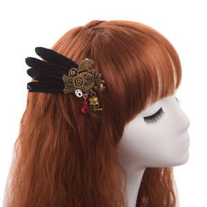 Vintage Gothique Steampunk Noir Plume épingle à cheveux double but Sein Broche