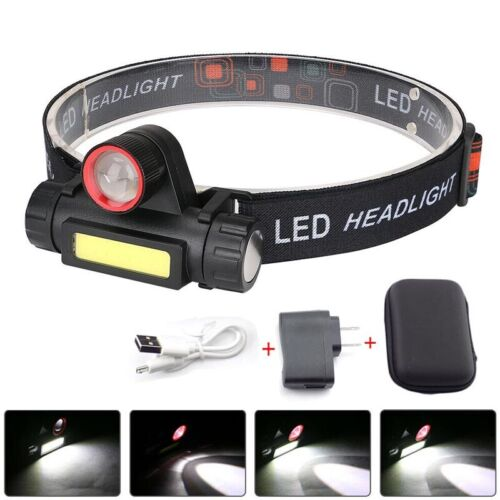 Zoomable XPE+COB LED Headlamp Headlight USB Rechargeable 18650 Head Torch Lamp