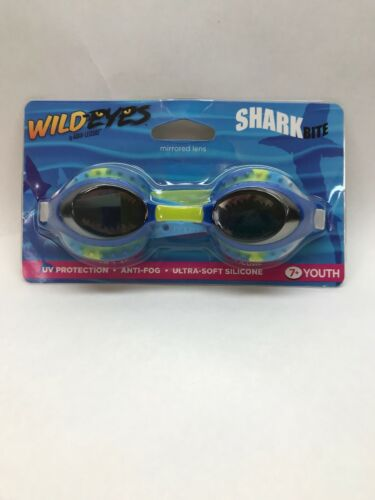 Youth Swimming Pool Swim Water Goggles Shark Mirrored Lens UV Protection